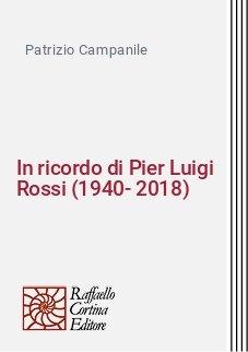 In ricordo di Pier Luigi Rossi (1940-2018)